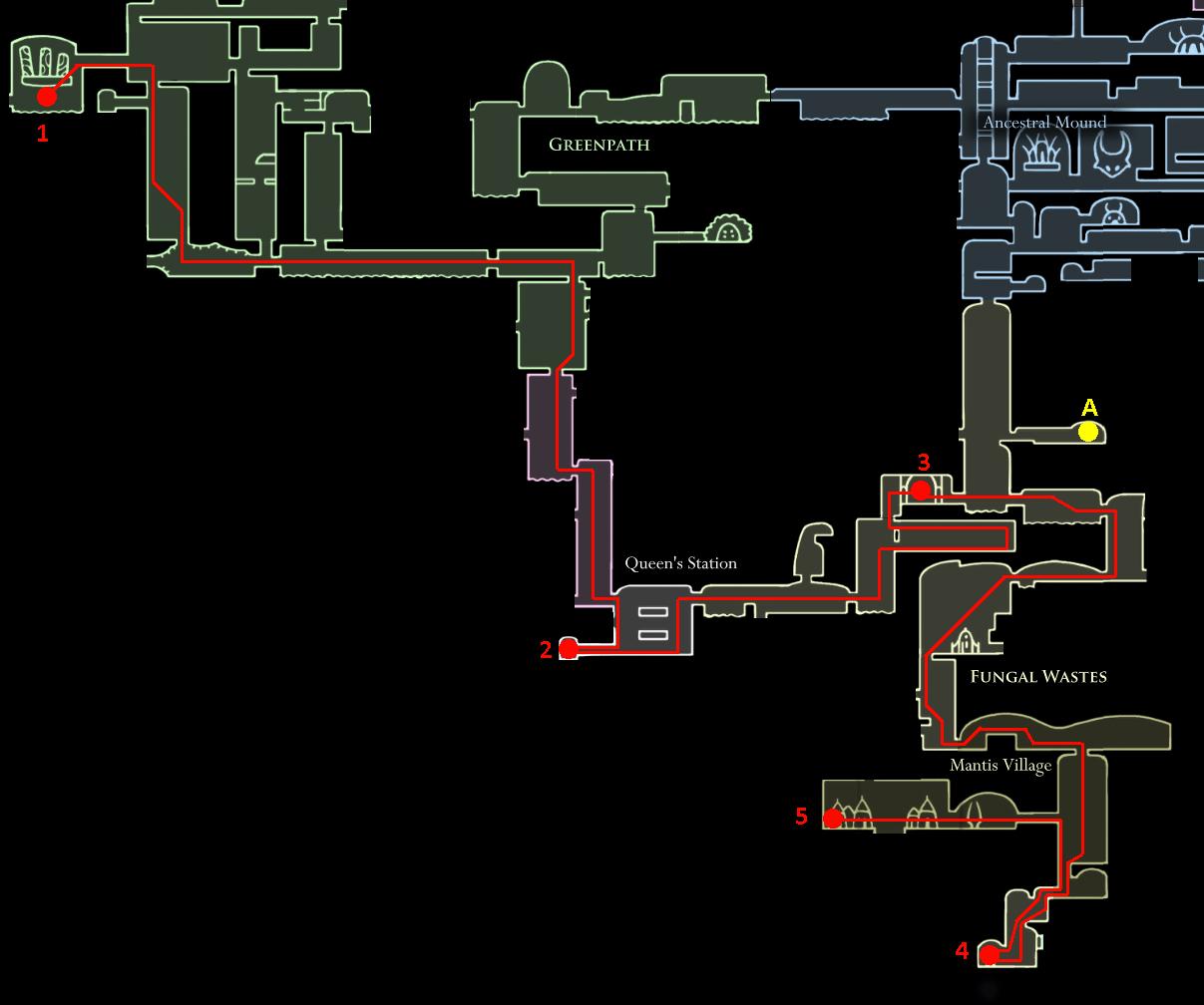 Hollow Knight 3hr Speedrun Achievement Guide Claw Schematic Leg 3 Dash Master And Mantis