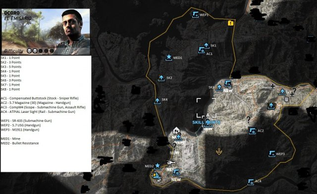 Ghost Recon: Wildlands - Weapons, Accessories, Medals and Skill Points Locations