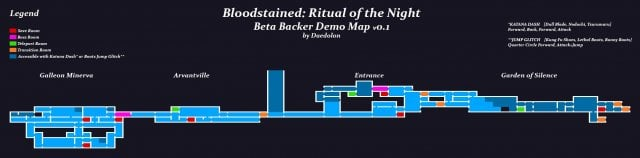 Bloodstained: Ritual of the Night - Area Map (Beta Backer Demo)