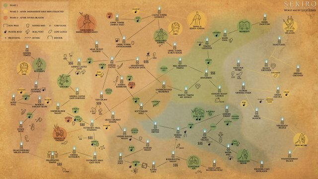 Sekiro: Shadows Die Twice - World Map (Chart)