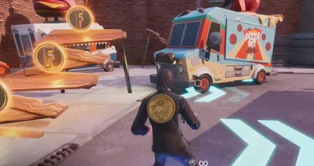 Fortnite Battle Royale - Dance or Emote Between Two Food Trucks (Downtown Drop Challenge)