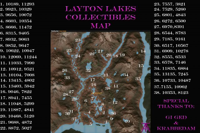 The Hunter: Call of the Wild - Layton Lakes Collectible Map & Coords (All 38)