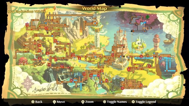 Monster Boy And The Cursed Kingdom - 100% World Map